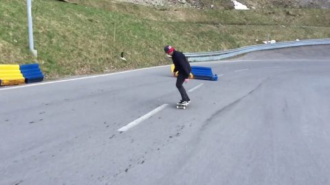 Simon Stricker Skateboarding on a Race Track - Simon Stricker