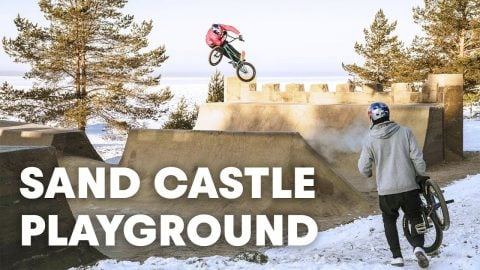 GIANT SAND CASTLE: A frozen BMX playground out of sand? - Red Bull