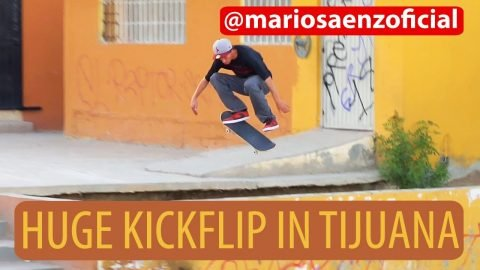 Sugar Skate Co. - Mario Saenz Huge Kickflip in Tijuana, Mexico | Sugar Skate Co.